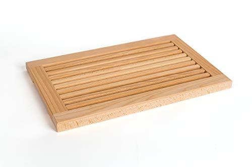 TNNature Planche à découper le pain, avec rainure et ramasse-miettes, en bois de hêtre, 40x 25x2,5cm