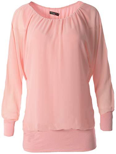 FASHION YOU WANT Damen Oversize Oberteile Tshirt/Pullover Uni Übergrößen Shirt Langarm (rosa, 48/50)