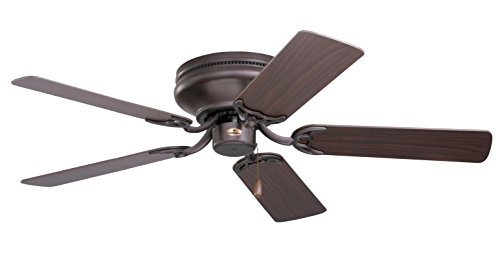 kathy ireland HOME Snugger Flush Mount Ceiling Fan, 42 Inch | Low Profile Hugger with 5 Reversible Blades and Pull Chain | Light Kit Adaptable, Oil Rubbed Bronze