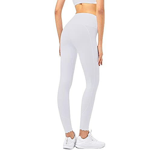Damaifirstes Pantalones de yoga de corte aleatorio para mujer, pantalones de fitness con cintura alta, Blanco, S delgado