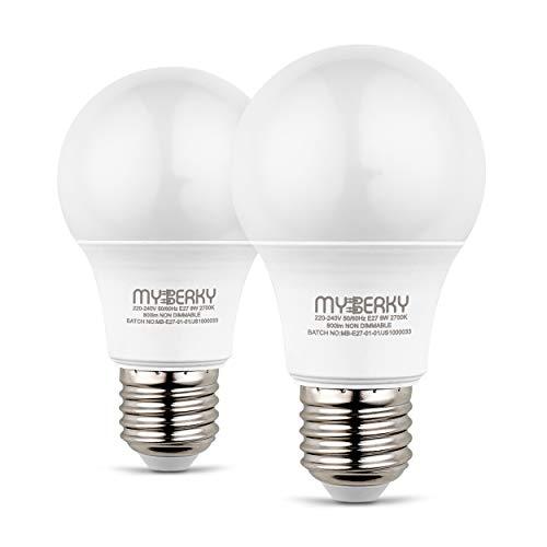 MyBerky® LED Glühbirnen E27 warmweiß [27.000K] – [2]er & [6]er Set Birnen e27 – [60]mm E 27 Warmweiß LED 60w – [800LM]- [A+] Energieverbrauch – [15.000] Std. Lebenszeit (2)