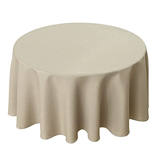 Biscaynebay Textured Fabric Round Tablecloths 70 Inches in Diameter, Natural Water Resistant Tablecloths for Dining, Kitchen, Wedding, Parties etc. Machine Washable