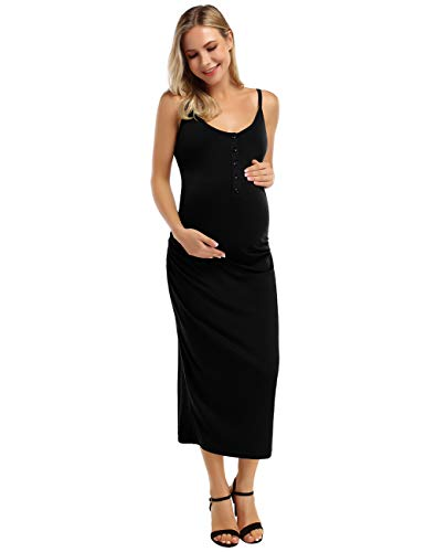 Coolmee Maternity Dress Women's Casual Ruched Long Maxi Dress Nursing Breastfeeding Bodycon Dress with Button