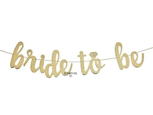 CC Party Co. Bride to Be Gold Glitter Banner with Diamond Ring Detail | bachelorette party | bridal shower | engagement party | wedding shower | hen party | decorative sign