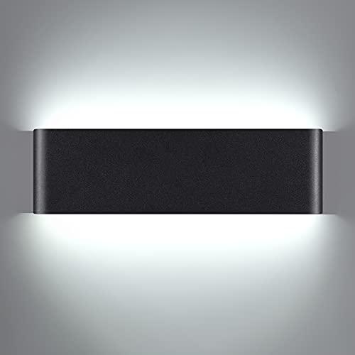Aplique Pared Interior, 16W LED Lámparas de Pared Moderno Negro, 6000K Blanco frío Luz LED Pared decorativo, Lampara pared perfecta para Sala de Estar, Dormitorio, Pasillo, Balcón (16W, Blanco frío)