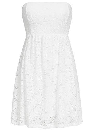 Styleboom Fashion® Damen Mini Bandeau Kleid Spitze Allover Brustpads 2-lagig Weiss, Gr:L