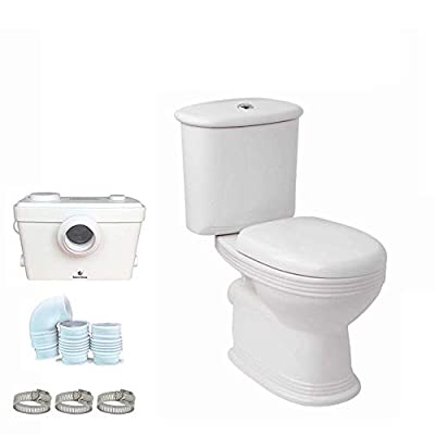 Silent Venus Macerating Upflush System Two-Piece Round-Front Toilet Kit with Standard Bowl, Color White