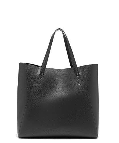 Sole Society Women's Faux Leather Oversized Willow Tote Handbag with Slouchy Silhouette, Top Handles and Drop-in Pocket, Black