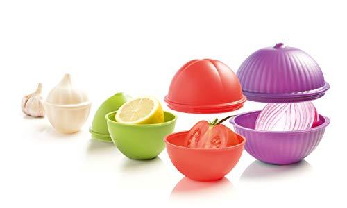Mastrad Veggie Savers - Gemüse-Aufbewahrungsboxen - 4 Passformen: Knoblauch, Zwiebel, Zitrone, Tomate - Platzsparend - dauerhafte Frische und Geruchsneutralität für das Gemüse