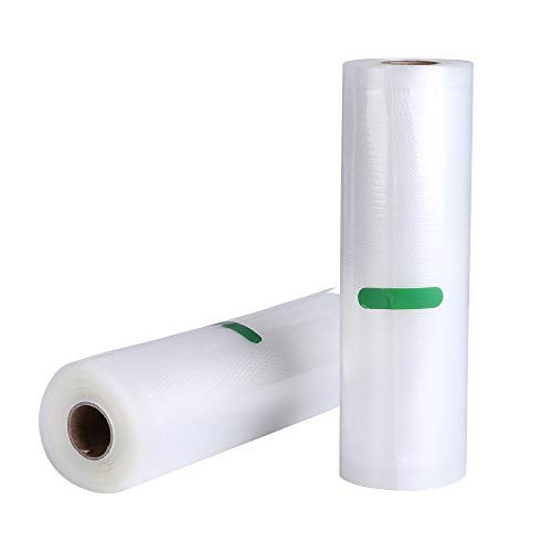 2 Vakuumrollen 20x500 cm Vakuumiergerät Profi Folienrollen Vakuumbeutel für Nahrungsmittelretter und Sous Vide Kochen,Mit Geprägte Struktur,Wiederverwendbar,Extrem Reißfest,BPA frei