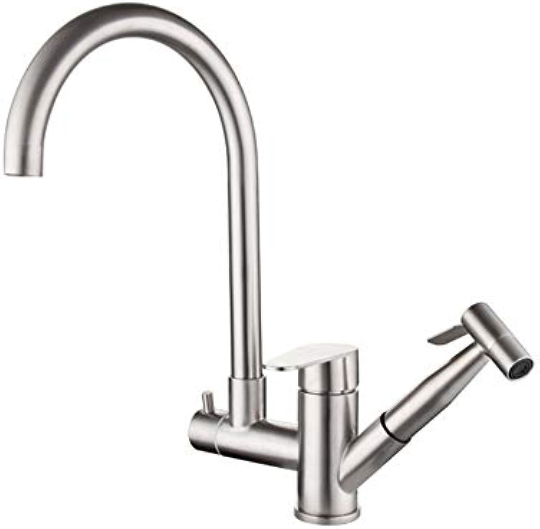 LTYBY Multi-Funktions-Edelstahl Pull Spüle Wasserhahn hei und kalt Waschbecken Wasserhahn