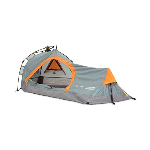 Lumaland Where Tomorrow Solo-Zelt Pop Up Wurfzelt 1-Personen-Zelt - Dreieck - 225x100x57 cm - Camping Festival - Ultraleicht, kleines Packmaß, wasserdicht, robust - Grau