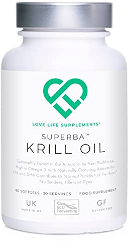 LLS Superba Krill Oil | Sustainably Fished by Aker BioMarine | 500mg x 60 Softgels | for Healthy Heart, Joints and Immune Support | Manufactured Here in The UK Under BRC Certification