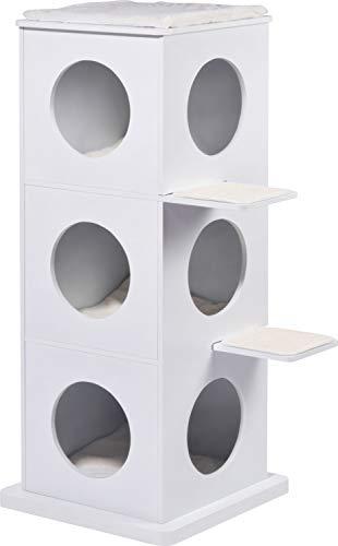 Dobar 35278FSCe - Torre per Gatti a 3 Piani Smarty, con Superficie AntiGraffio e 3 Letti per Gatti Morbidi all'Interno, 48 x 60 x 107 cm, Colore: Bianco