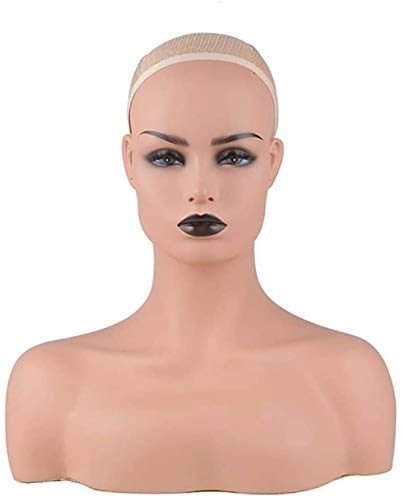 Mannequins Tête de Femme Buste Tête, avec épaules for Affichage Perruques, Chapeaux, Foulards Peuvent Porter des Boucles d'oreilles (Color : B)