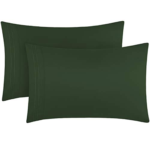 Mellanni Luxury Pillowcase Set - Brushed Microfiber 1800 Bedding - Wrinkle, Fade, Stain Resistant (Set of 2 Standard Size, Emerald Green)