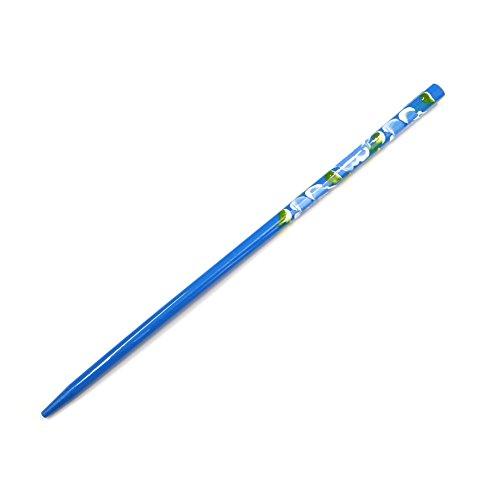rougecaramel - Accessoires cheveux - Pic cheveux plastique imprimé fleur peint à la main - bleu