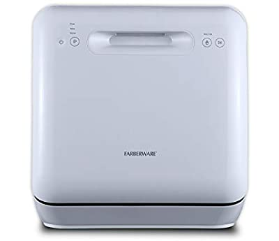 Farberware Professional Complete Portable Countertop Dishwasher with 5-Liter Built-in Water Tank, 3 Wash Programs, FDW05ASWWHC White