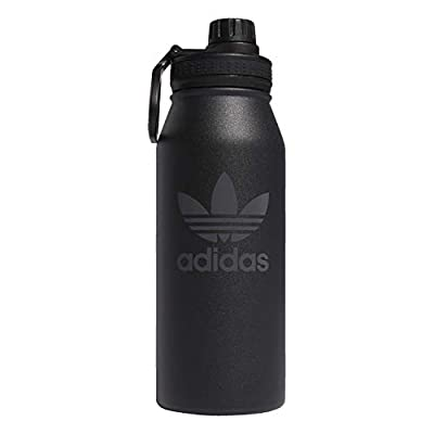 adidas Originals 18/8 Stainless Steel Hot/Cold Insulated Metal Bottle, Black/Grey Six, 1 Liter