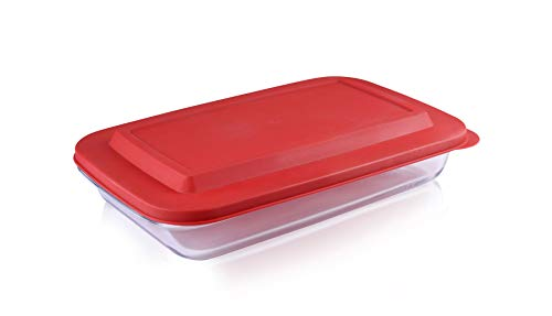 Bovado USA Rectangular Glass Bakeware 2.3 Quart with BPA-Free Lids | Superior Oblong Glass Baking Dish for Casseroles, Lasagna, Leftovers, Cooking, | Essential Kitchen Item