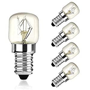 DoRight 5 bombillas para horno E14 de 25 W, T22, luz blanca cálida, 2400 – 2600 K hasta 300 °C, resistente al calor, CA 220 – 240 V, pequeña rosca Edison para microondas, horno, lámpara de sal