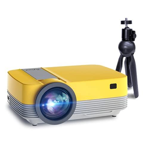 Proiettore Portatile Supporta 1080p Full HD 6500 Lumen,Mini Proiettore con Treppiede, Videoproiettore Yefound Q6 per Fire TV Stick HDMI USB AV PS4 Laptop