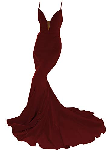 Fair Lady Sexy Deep V-Neck Mermaid Prom Dresses Long Spaghetti Straps Backless Formal Evening Party Gowns Burgundy (Apparel)