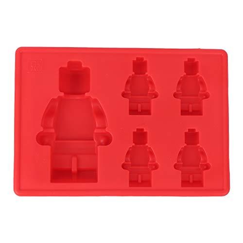 Bandeja de hielo - Bandeja de hielo 4 + 1 Molde de hielo multifuncional de silicona de grado alimenticio con forma de robot rojo para el hogar para la cocina