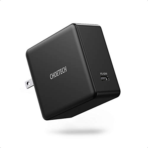 USB C Charger 60W, CHOETECH USB-C Power Adapter Foldable PD Wall Charger Compatible with MacBook Pro/Air, iPad Pro, Dell XPS, HP Spectre, iPhone, Galaxy and More