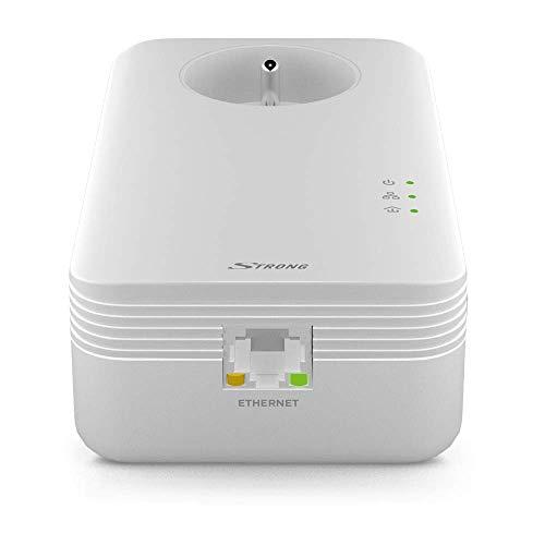 Strong CPL 1300 Mbps, Set mit 2 Adaptern CPL mit integrierter Steckdose - Gehäuse CPL kompatibel mit Allen Internetboxen Fibre und Adsl - Weiß