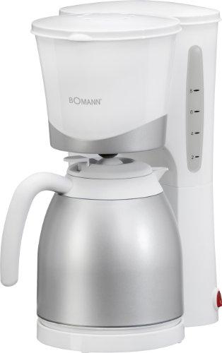 Bomann KA 168 CB Cafetera de Goteo con Jarra Termo, Capacidad 8-10 Tazas 1 litro, Blanca Plata, 870W, 870 W, 1 Liter