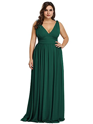 Ever-Pretty Womens Empire Waist Chiffon Elegant Formal Evening Bridesmaid Dresses for Wedding Plus Size Green US 22