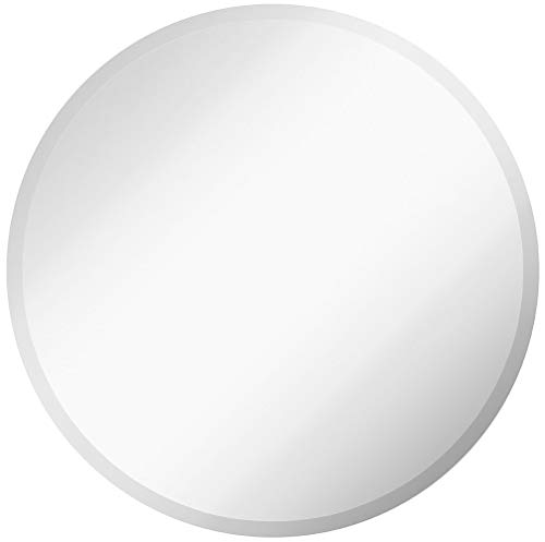 "Large Simple Round Beveled Circle Wall Mirror | Frameless 30 Inch Diameter Circular Mirror with Safety Film Back Side Rounded Mirrored Glass Panel | Best for Vanity, Bedroom, or Bathroom (30"" Round)"