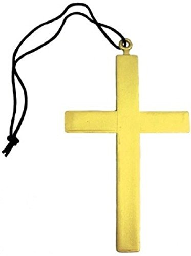 Ladies Mens Religious Nun Monk Vicar Gold Cross Fancy Dress Costume Outfit Necklace (One Size)