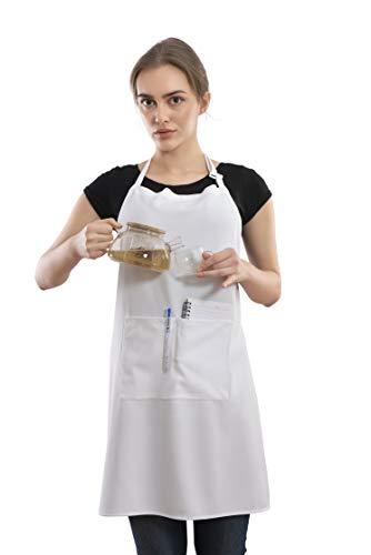 Elvindex Schürze mit 2 Taschen, Kochschürze Küchenschürze für Küche, Restaurant mit verschiedenen Farben für BBQ Chef Bäcker Kellner Malen Friseur café Garten Männer & Damen (Weiß)