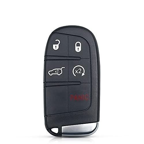 Carcasa para Llave de Coche Reemplazo del automóvil Smart Remote Key Shell Case 4 + 1 5 Botones Fob sin Llave Compatible con el Cargador Dodge Jeep Grand Cherokee 2013-2015 Durable