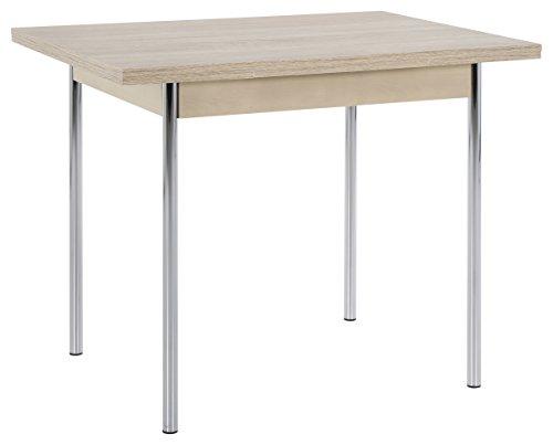 Küchentisch Bonn I, Holzwerkstoff Dekor Sonoma Eiche, Metallgestell chrom, ausziehbar 90-142 x 65 x 74 cm