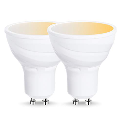 Lohas WiFi Bombilla LED inteligente GU10, compatible con Alexa, Google Home, de 5W=50W bombilla tradicional, color blanco cambiante(2000-6500K), controlada por dispositivos inteligentes, 2 unidades
