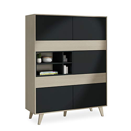 Habitdesign 0Z6636R - Mueble aparador Vitrina, Acabado Color Roble y Gris Oscuro, Medidas 121 cm (Ancho) x 156 cm (Alto) x 41 cm (Fondo)