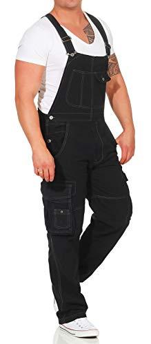 Jet Lag Herren Latzhose Overall Lange Cargo Hose Loose Fit Black 3XL