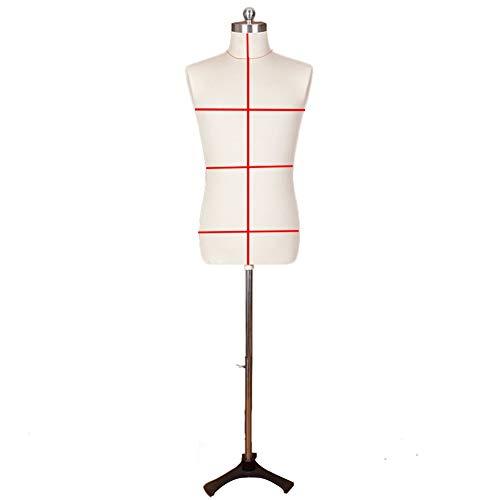 Maniqui Costura Mujer Modista Maniquí de costura de talla grande para hombre, trípode de soporte de maniquí superior ajustable en altura, poste de metal de espuma de poliestireno, decoración navideña