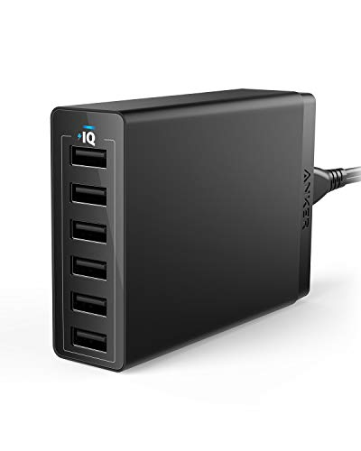 Anker USB Wall Charger, 60W 6 Port USB Charging Station, PowerPort 6 Multi USB Charger for iPhone XS/Max/XR/X/8/7/Plus, iPad Pro/Air 2/Mini/iPod, Galaxy S9/S8/S7/Edge/Plus, Note, LG, HTC, and More