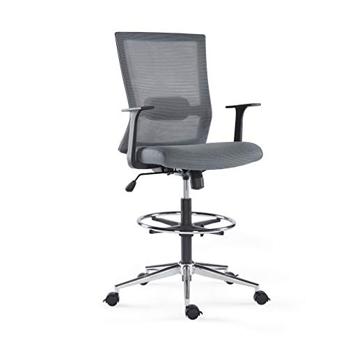Sunon Mid-Back Tall Drafting Chair Mesh High Office Chair with Adjustable Foot Ring, Rolling and Brake Casters (Grey & Brake Wheels)