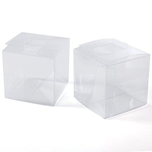 Anladia 100 Stück Geschenkbox Klein 5,5x5,5x5,5 cm, Gastgeschenk Transparent Box Geschenkverpackungen, Süßigkeiten Schmuck Schachtel für Hochzeit Geburtstag Party Gartenparty Taufe