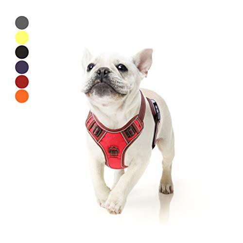 Hundegeschir Kein Ziehen Verstellbar Weiches Brustgeschirr Reflektierend Atmungsaktiv Leichtes Hundegeschirr für Kleine Mittelgroße und Große Hunde Rot S