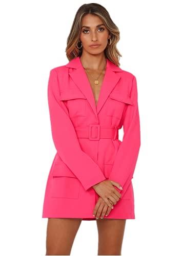 Siyova Cinturón para mujer de otoño, profundo, irregular, fino, chaqueta sólida, color rosa, rojo, para mujer, abrigo midi para oficina, chaqueta a medida, rosa y rojo, XS
