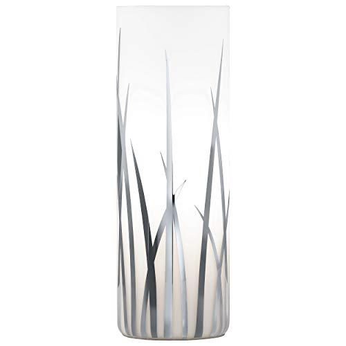 EGLO Tischlampe Rivato, 1 flammige Tischleuchte, Elegant, Nachttischlampe aus Glas mit Dekor, Wohnzimmerlampe in chrom, weiß, Lampe mit Schalter, E27 Fassung