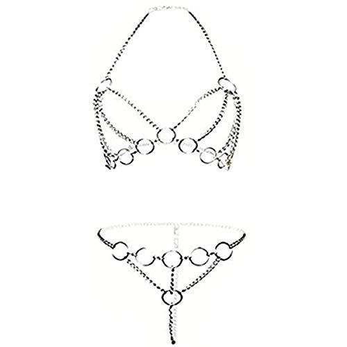 ZONSUSE Femmes Sexy Lingerie,Body Sexy sous-Vêtements,Lingerie Ensembles Open Coupe Perspective Harnais Fer Chaîne Tentation Vêtements de Nuit Gland Nuisette Pyjamas