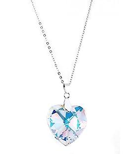 Pendentif coeur en cristal de Swarovski 14 mm rhodié avec une chaine de 45 cm collier swarovski pendentif coeur collier femme couleur aurore boréale