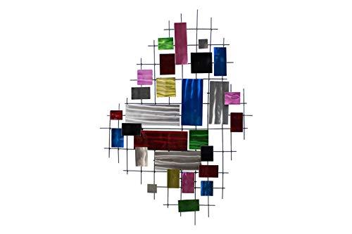 Kunstloft® Extravagante Escultura de Pared de Metal 'Ventanas desconocidas' 82x116x5.5cm | Decoración XXL Metal Arte | Cuadrados Abstractos Multicolor | Hecho a Mano Imagen Mural de Arte Moderno